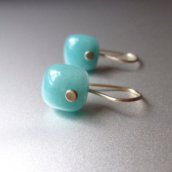 small blue amazonite cushion drops solid 14k gold earrings