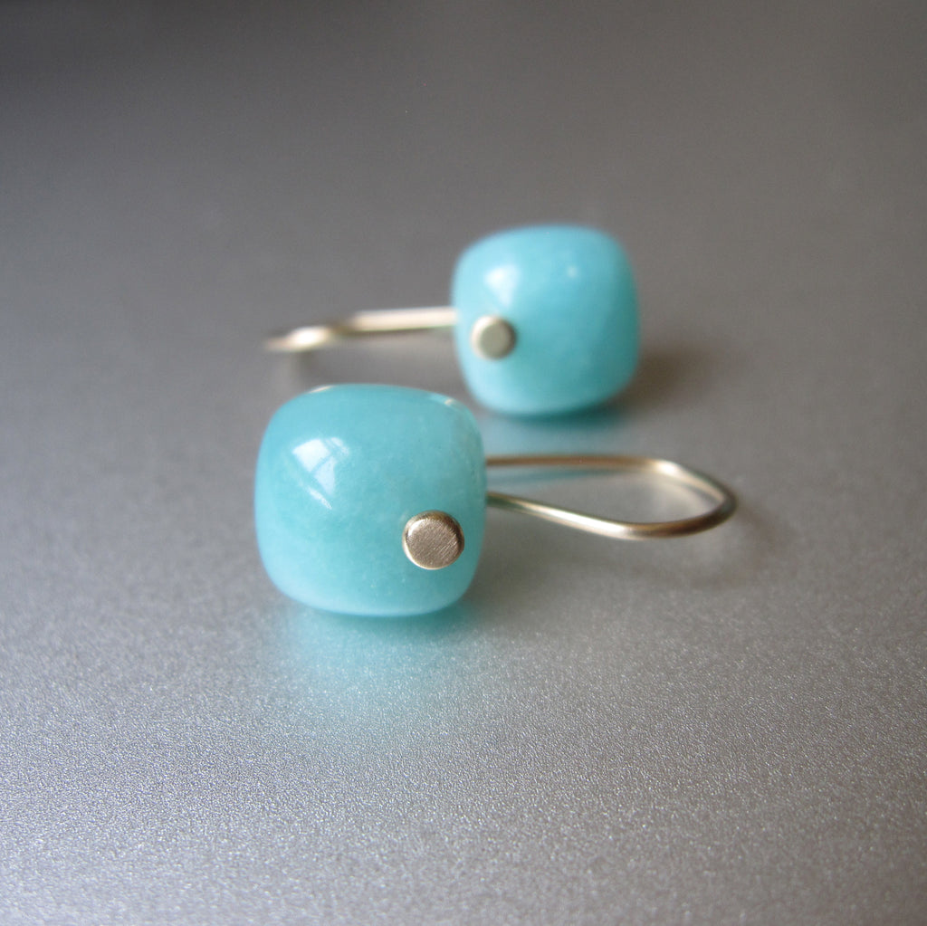 small blue amazonite cushion drops solid 14k gold earrings4