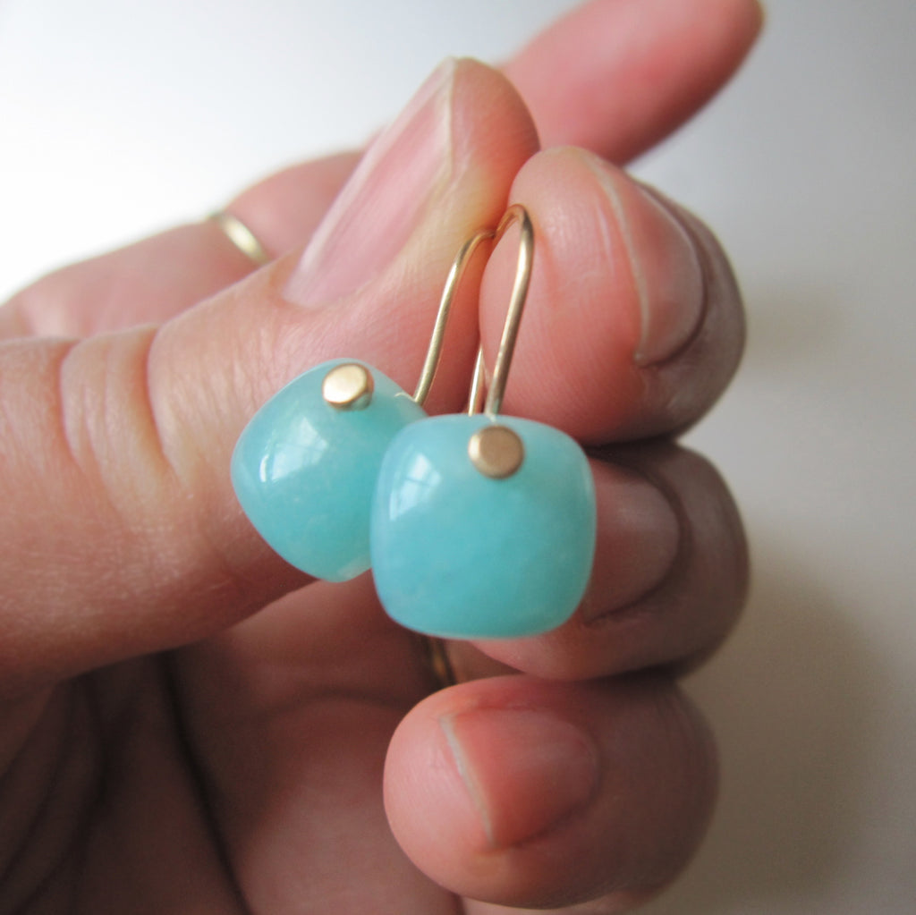 small blue amazonite cushion drops solid 14k gold earrings6