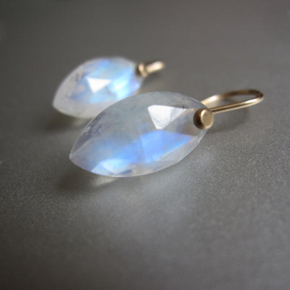 small marquise blue moonstone drops solid 14k gold earrings