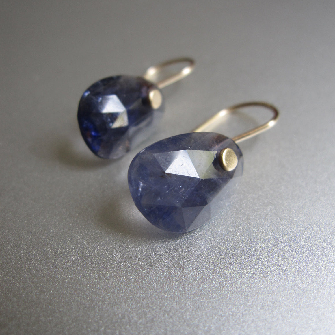 small iolite rose cut drops solid 14k gold earrings