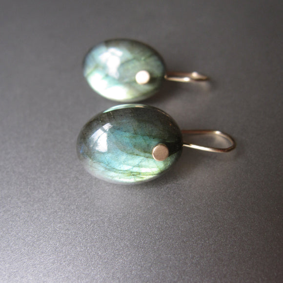 small thick green labradorite oval drops solid 14k gold earrings
