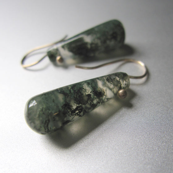 green moss agate tube drops solid 14k old earrings