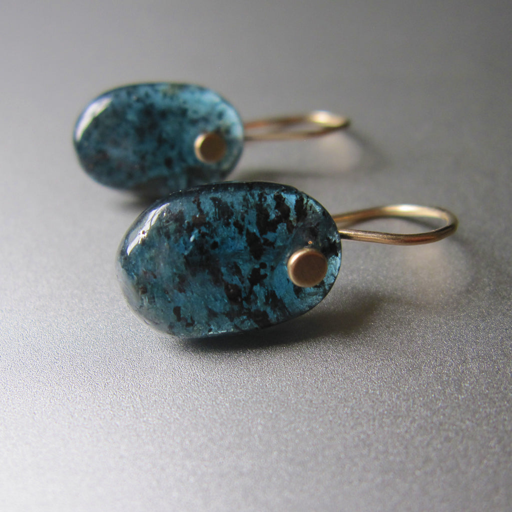 mossy teal kyanite oval drops solid 14k gold earrings3