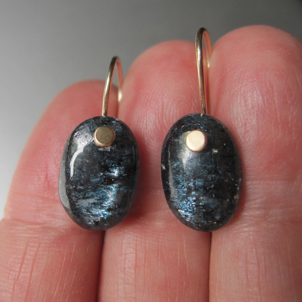 mossy teal kyanite oval drops solid 14k gold earrings7