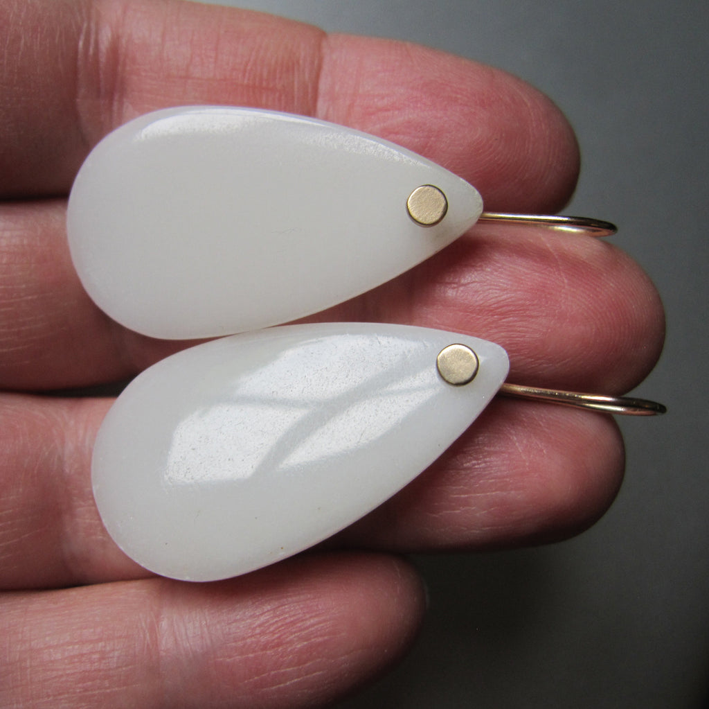 long white agate smooth drops solid 14k gold earrings