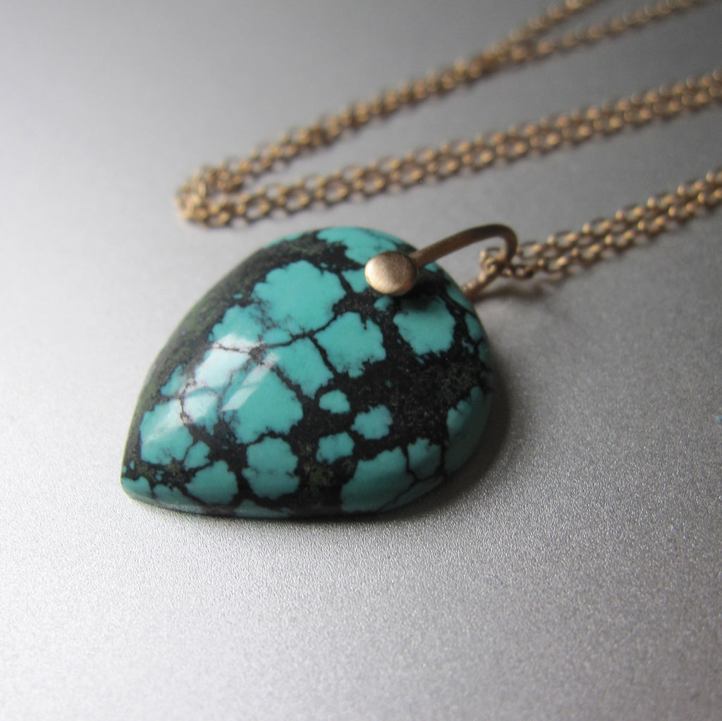 spiderweb turquoise pointed drop pendant solid 14k gold necklace4
