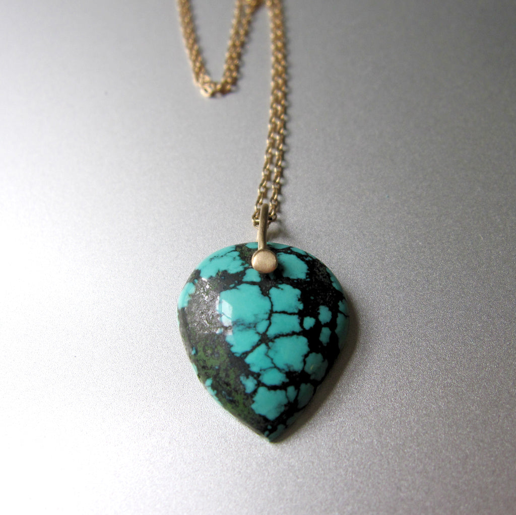 spiderweb turquoise pointed drop pendant solid 14k gold necklace5