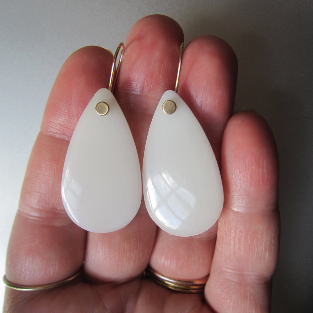long white agate smooth drops solid 14k gold earrings3