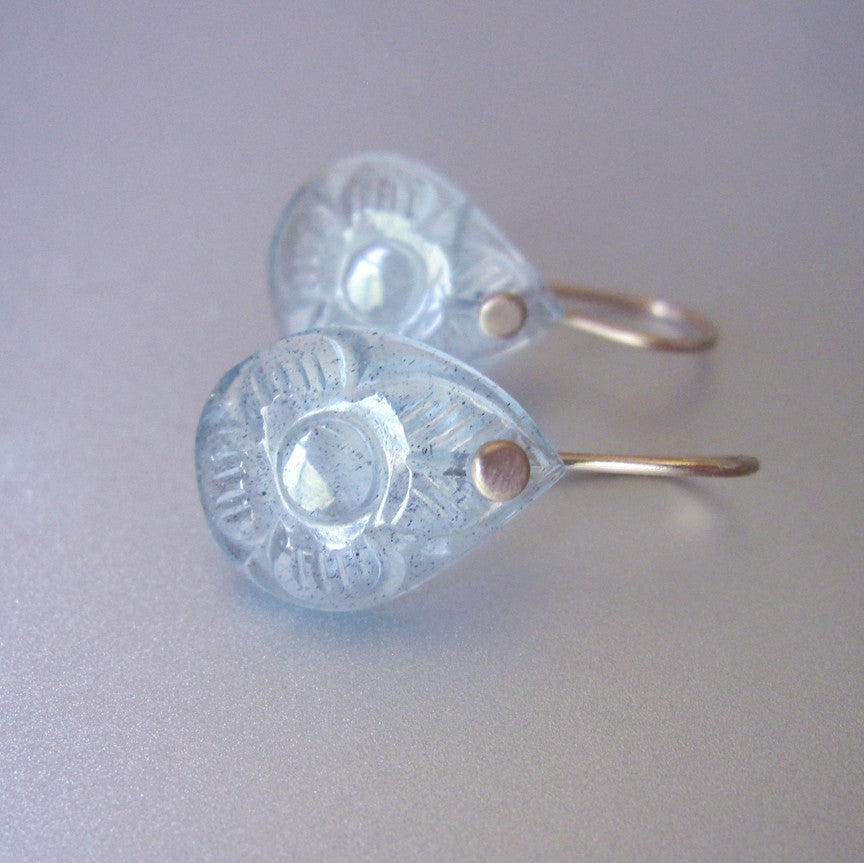 aquamarine carved flower earrings. Solid 14k gold earrings3