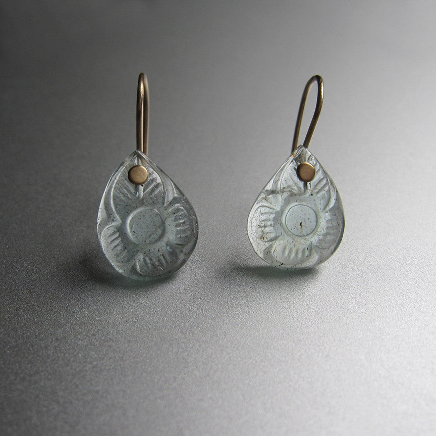 aquamarine carved flower earrings. Solid 14k gold earrings4