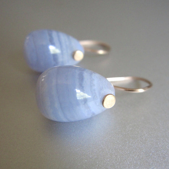 blue lace agate jelly bean drops solid 14k gold earrings
