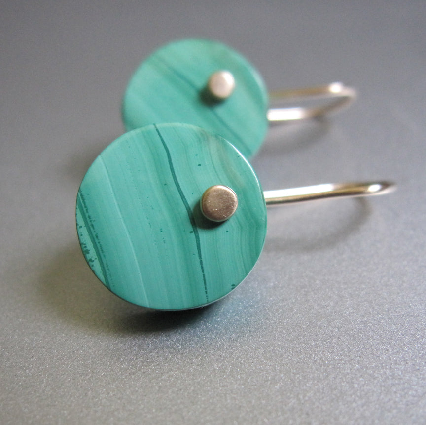 bright green malachite disc drops solid 14k gold earrings