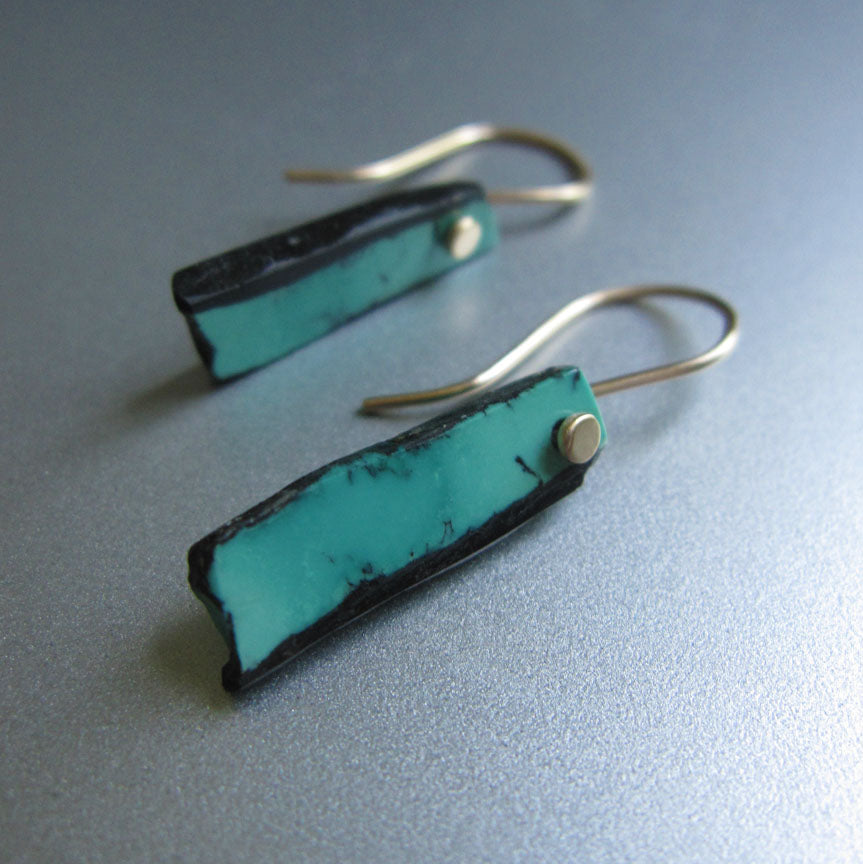 blue turquoise in matrix sticks solid 14k gold earrings3