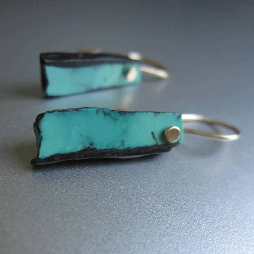 blue turquoise in matrix sticks solid 14k gold earrings4