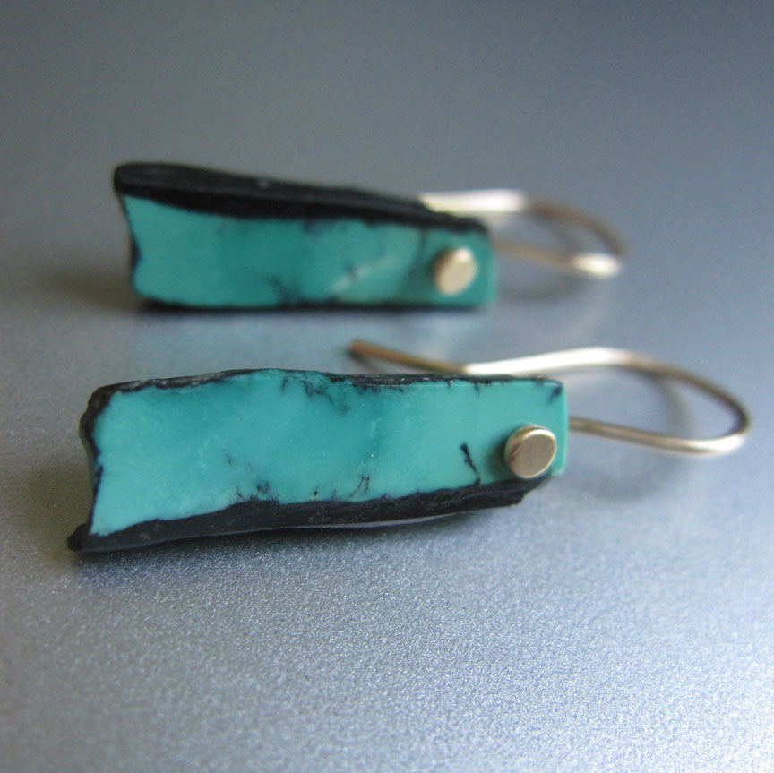 blue turquoise in matrix sticks solid 14k gold earrings2