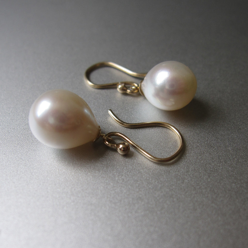 white freshwater pearl drops capped solid 14k gold earrings5