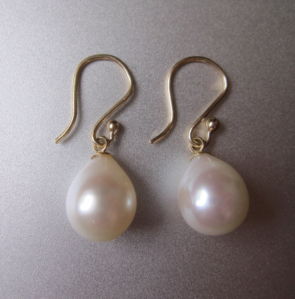 white freshwater pearl drops capped solid 14k gold earrings3
