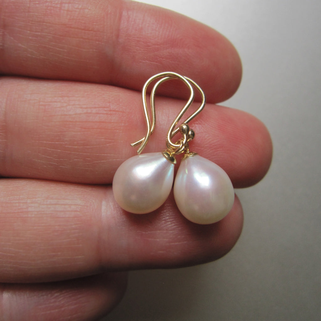 white freshwater pearl drops capped solid 14k gold earrings2