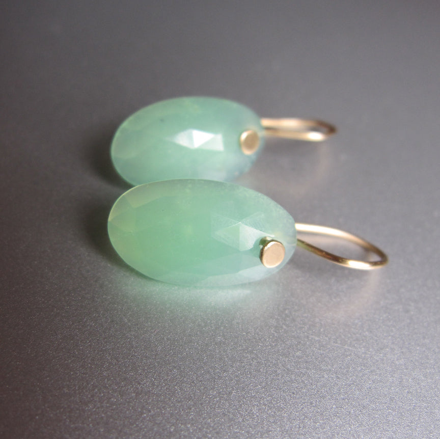 Chrysoprase Rose Cut Oval Drops Solid 14k Gold Earrings