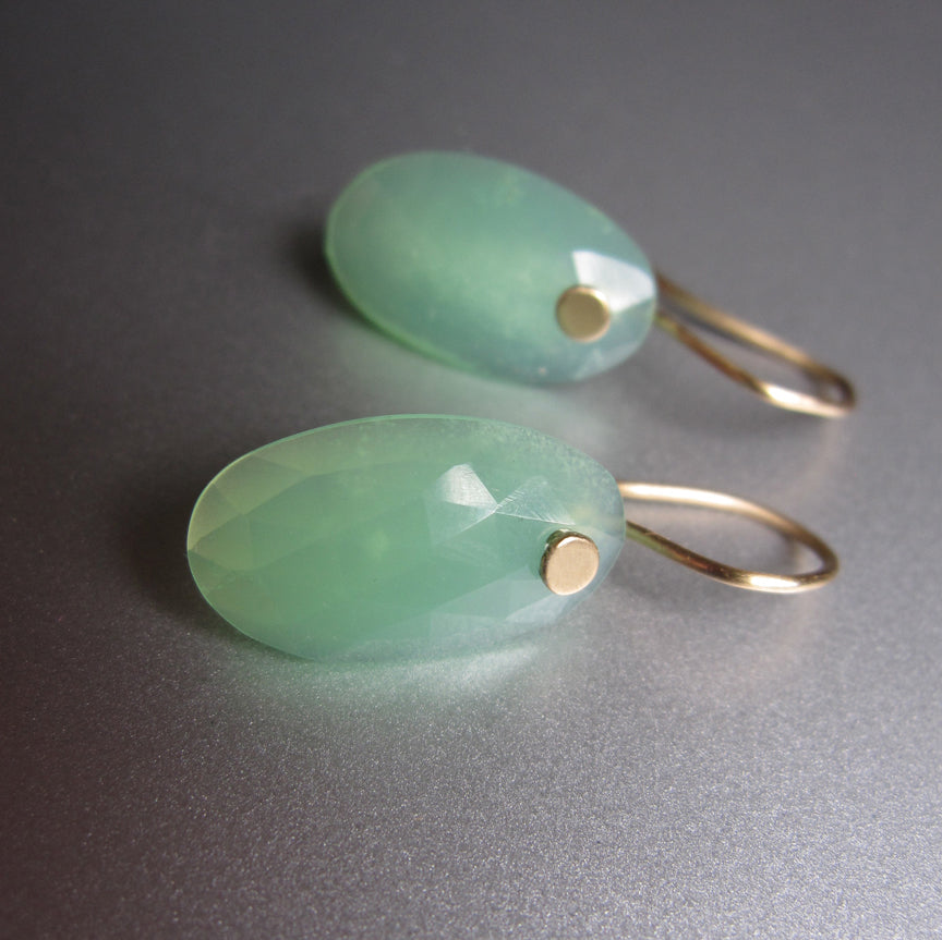 Chrysoprase Rose Cut Oval Drops Solid 14k Gold Earrings2