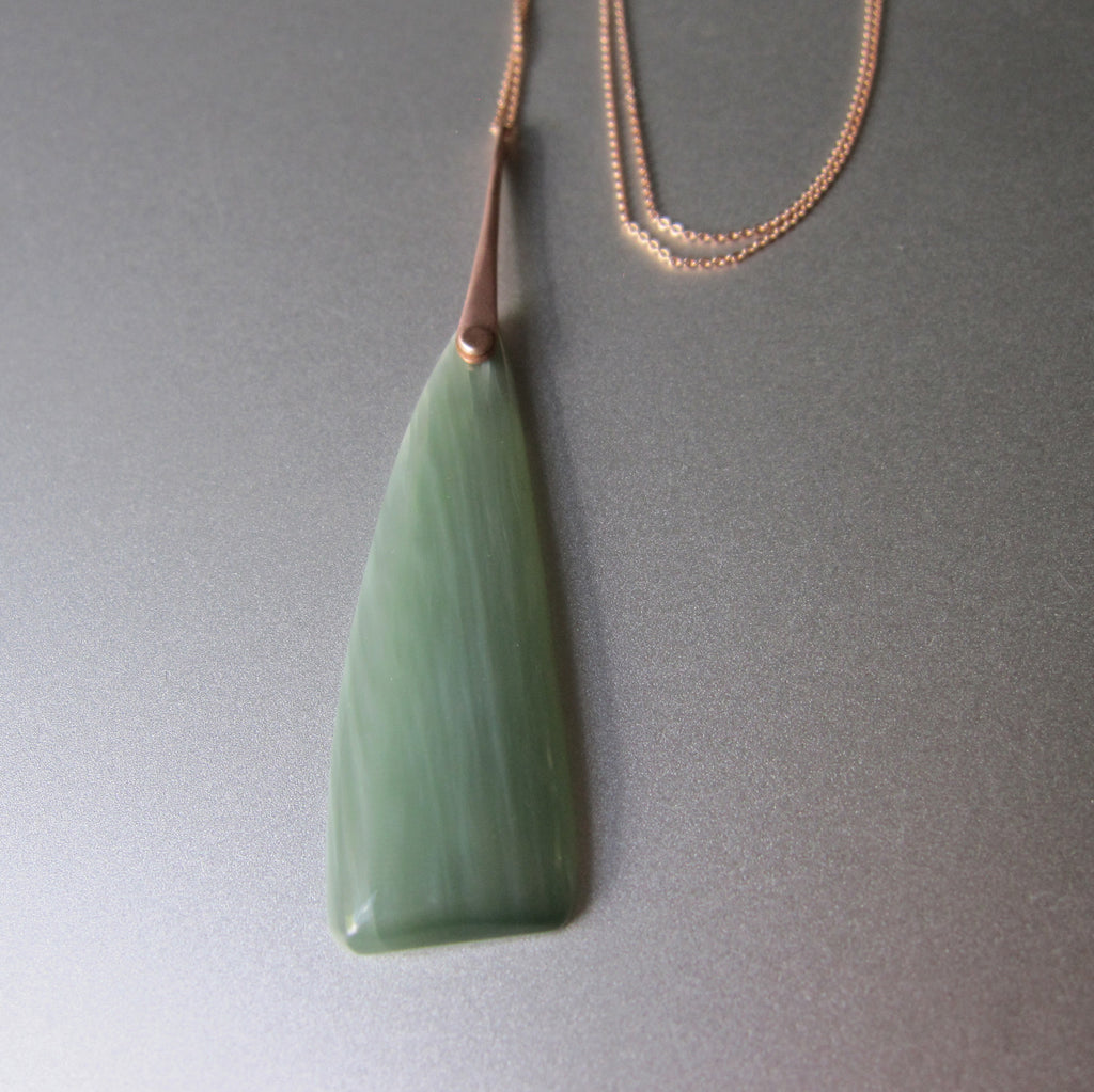 Cats Eye Nephrite Jade Riveted Spike Solid 14k Rose Gold Necklace 2