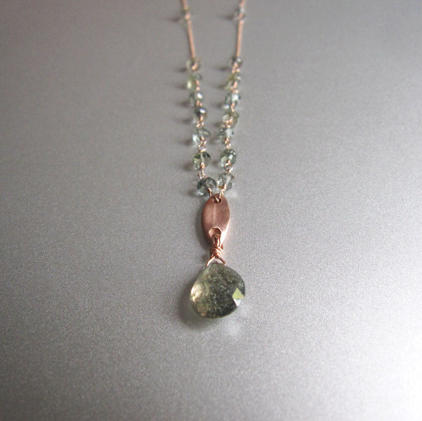 solid 14k rose gold abstract leaf necklace with green sapphires5