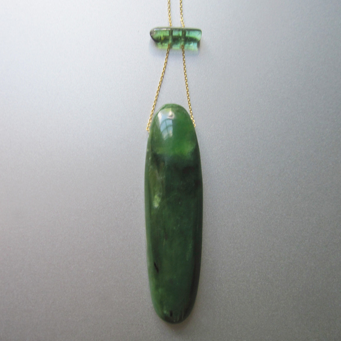 long nephrite jade and green tourmaline slide solid 14k gold necklace