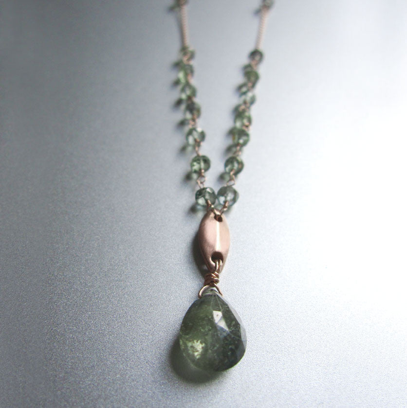 solid 14k rose gold abstract leaf necklace with green sapphires2