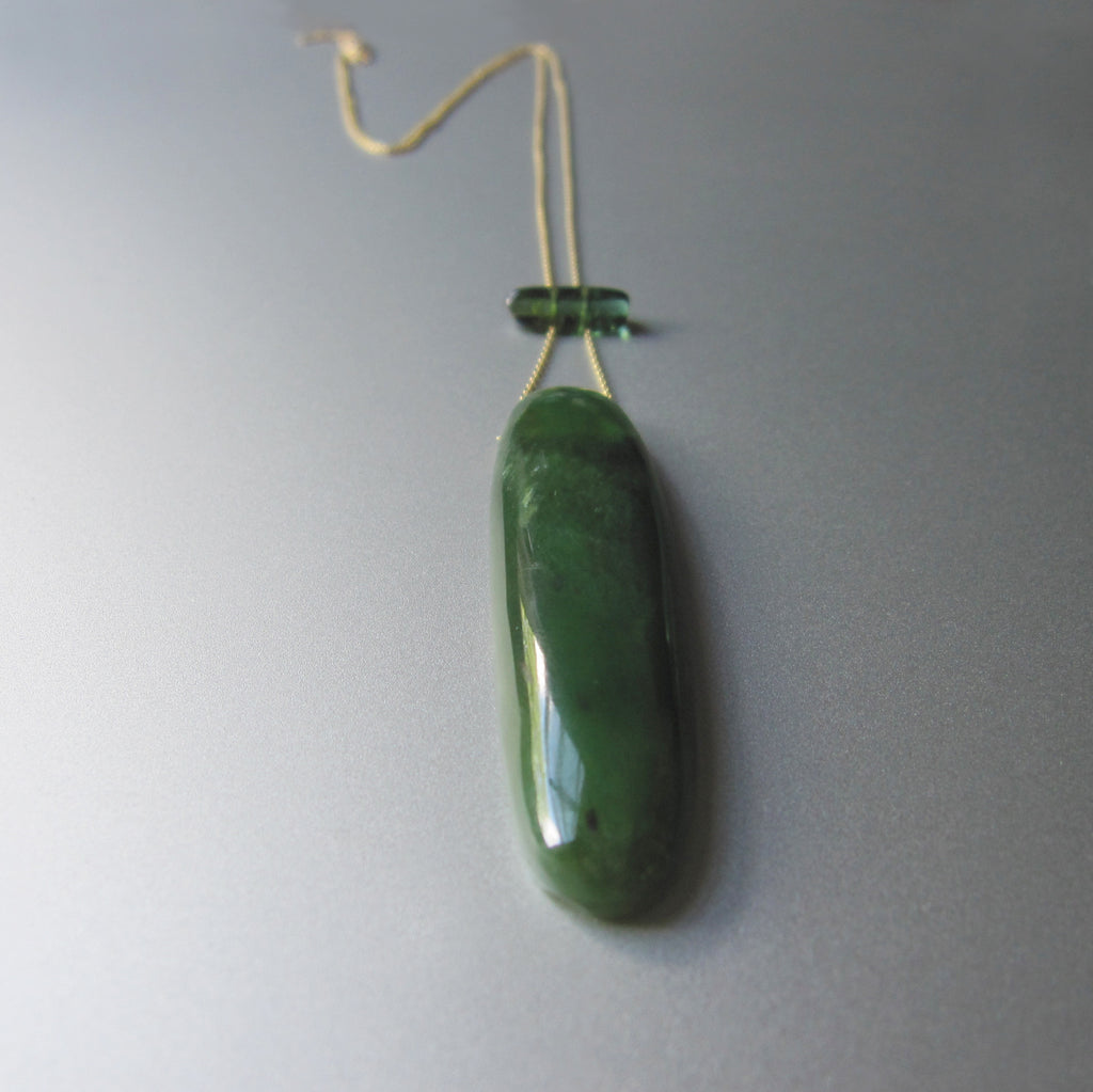 long nephrite jade and green tourmaline slide solid 14k gold necklace3
