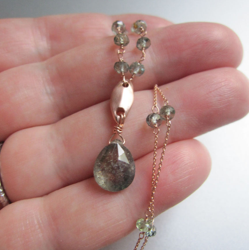 solid 14k rose gold abstract leaf necklace with green sapphires6