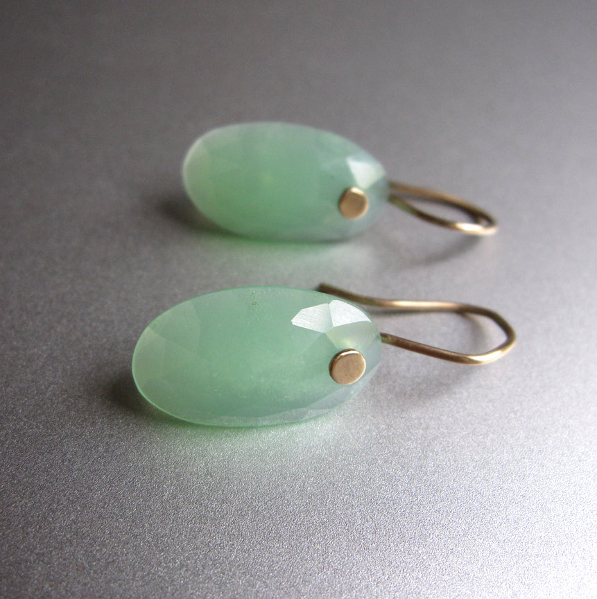 Chrysoprase Rose Cut Oval Drops Solid 14k Gold Earrings4