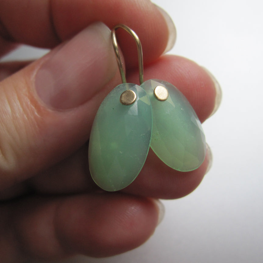 Chrysoprase Rose Cut Oval Drops Solid 14k Gold Earrings6