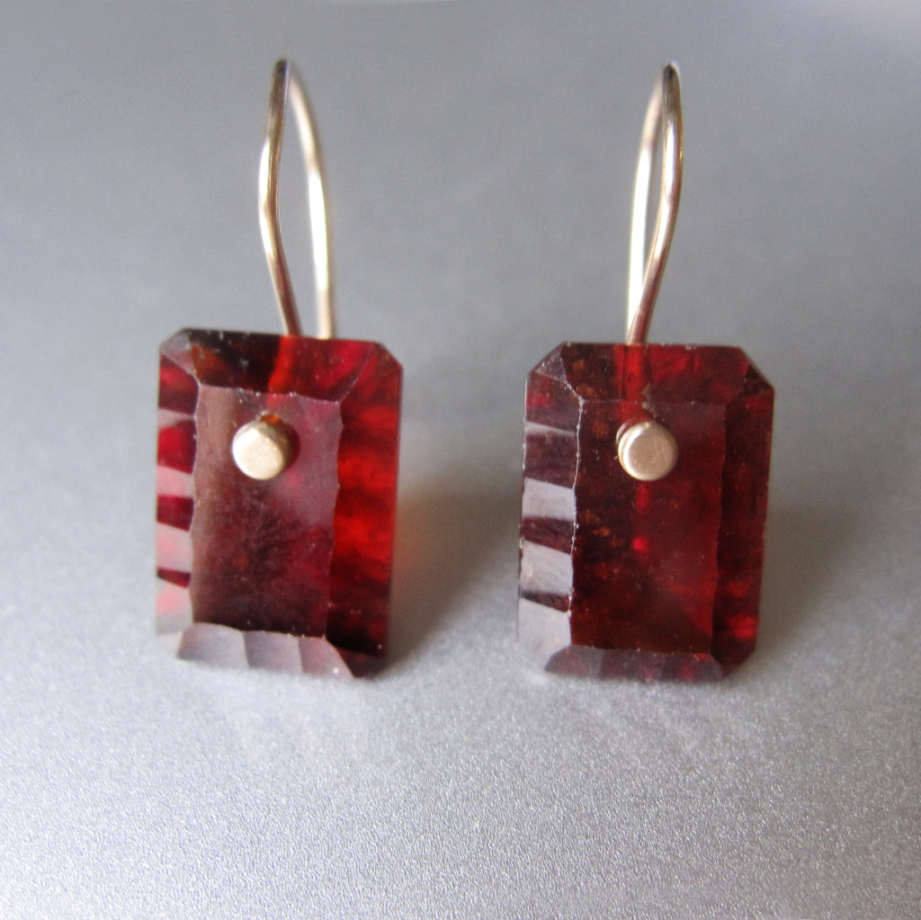 hessonite garnet scallop edged cushion drops solid 14k gold earrings2