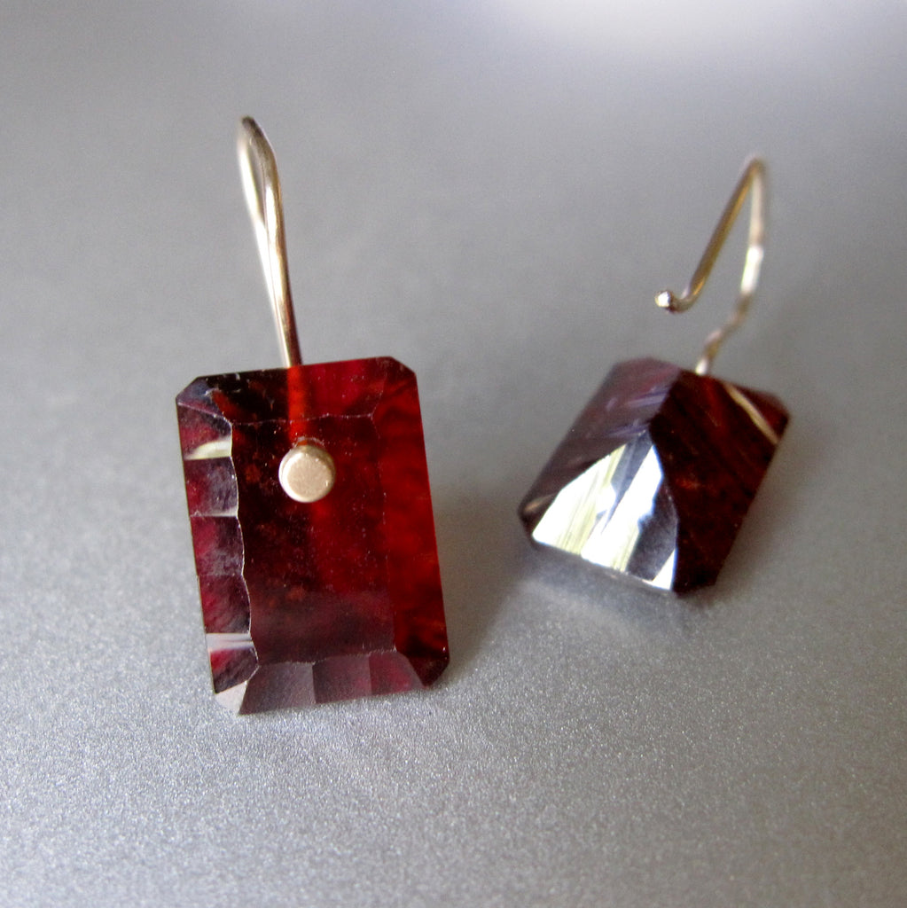 hessonite garnet scallop edged cushion drops solid 14k gold earrings4