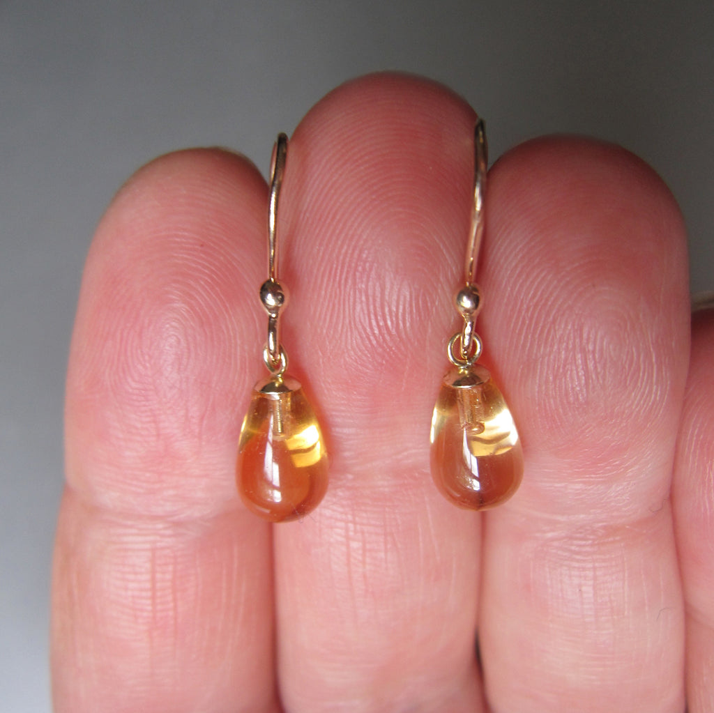 small citrine smooth drops solid 14k gold earrings4