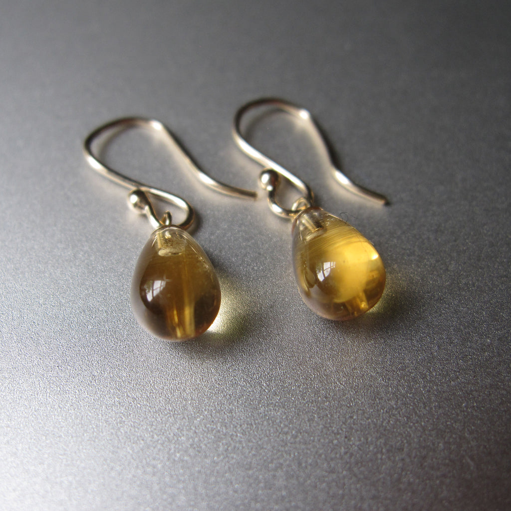 small citrine smooth drops solid 14k gold earrings5