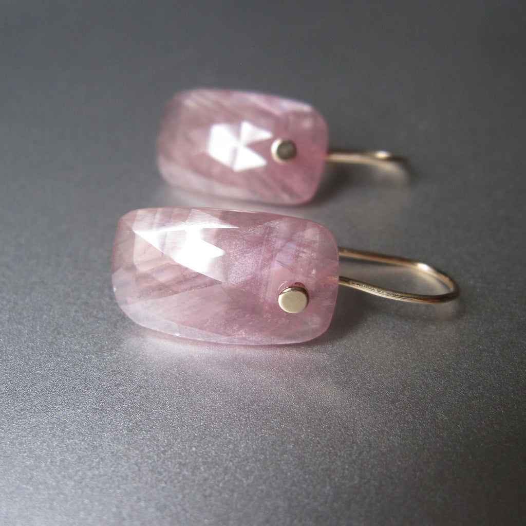 Pink Sapphire Rose Cut Rectangular Drops Solid 14k Gold Earrings