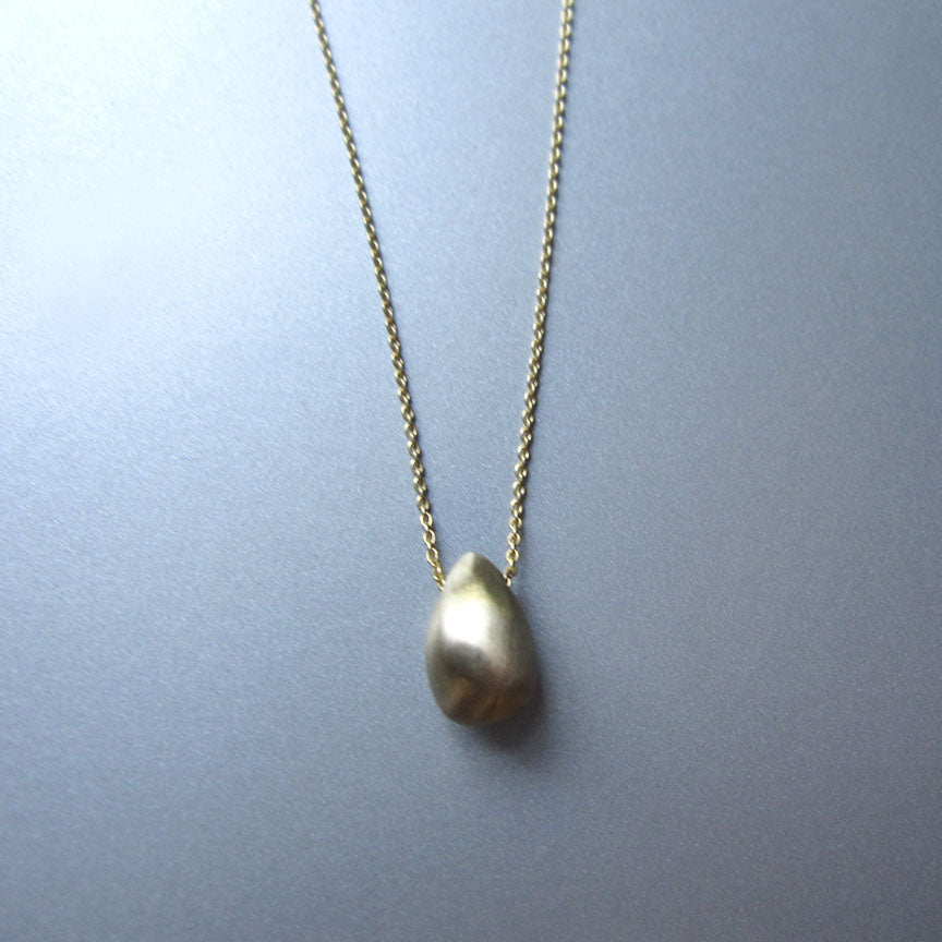 solid cast 14k gold seed drop on chain necklace