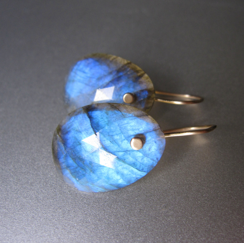 blue rose cut slice drops solid 14k gold earrings2
