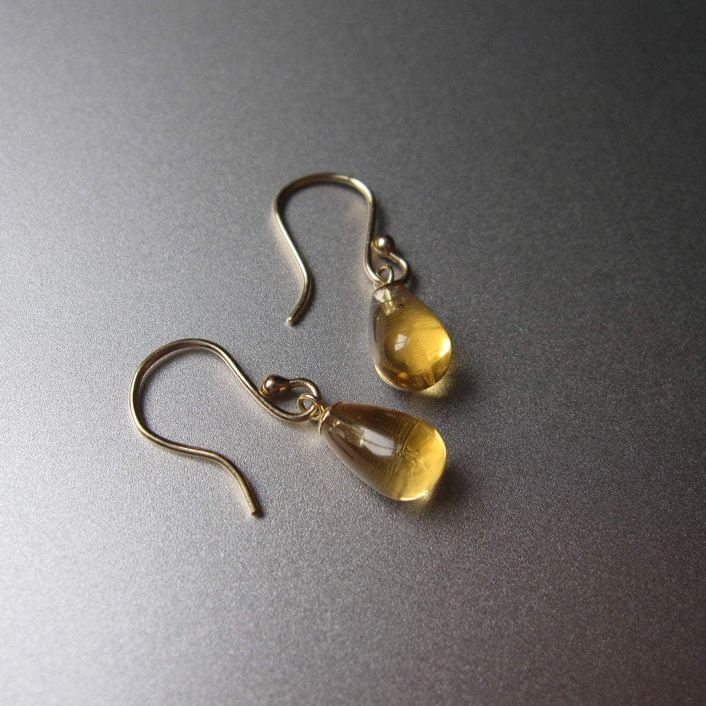 small citrine smooth drops solid 14k gold earrings7