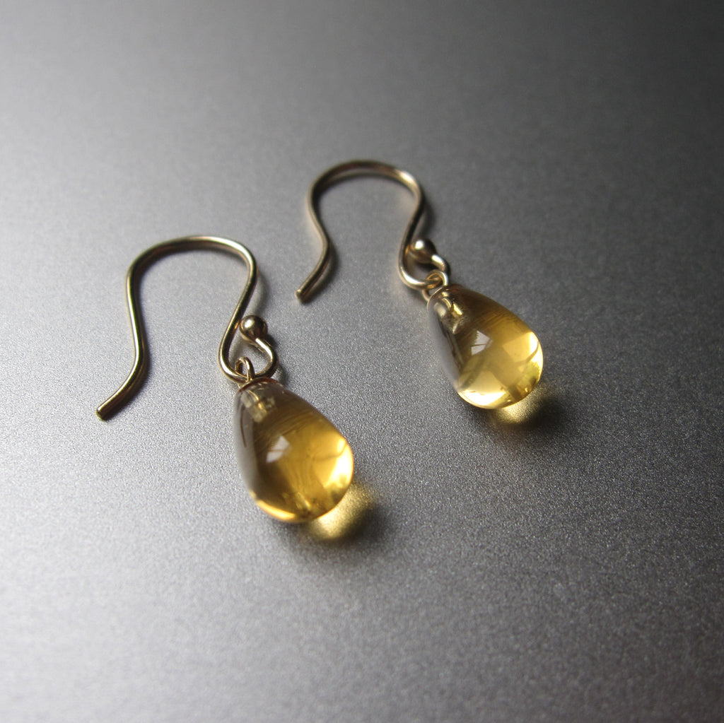 small citrine smooth drops solid 14k gold earrings2