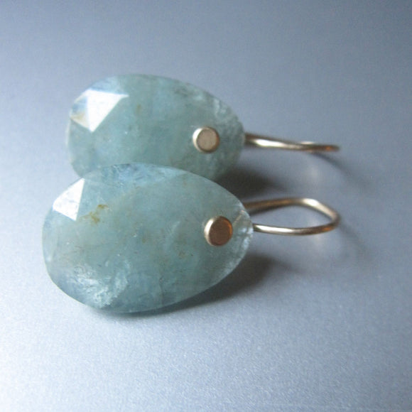 green blue rose cut aquamarine slice solid 14k gold earrings