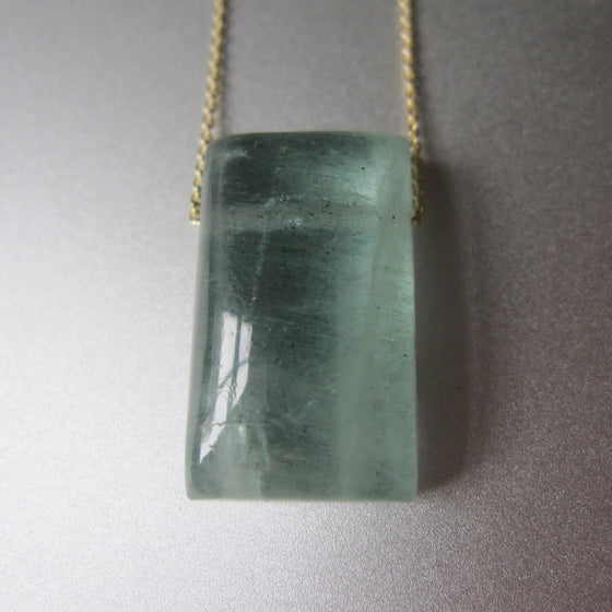 moss aquamarine cushion drop solid 14k gold necklace