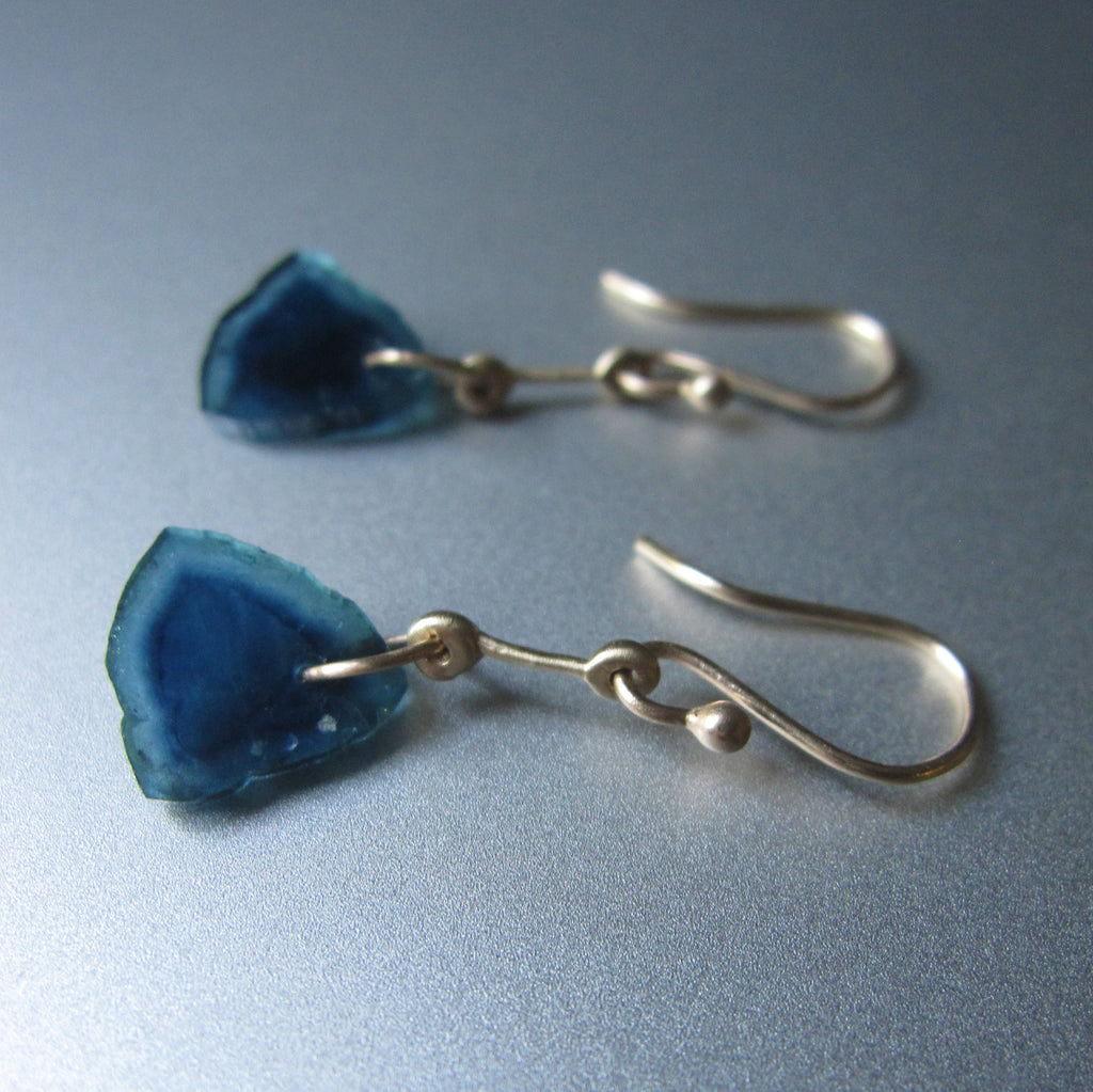 blue tourmaline slices gold rod solid 14k earrings3