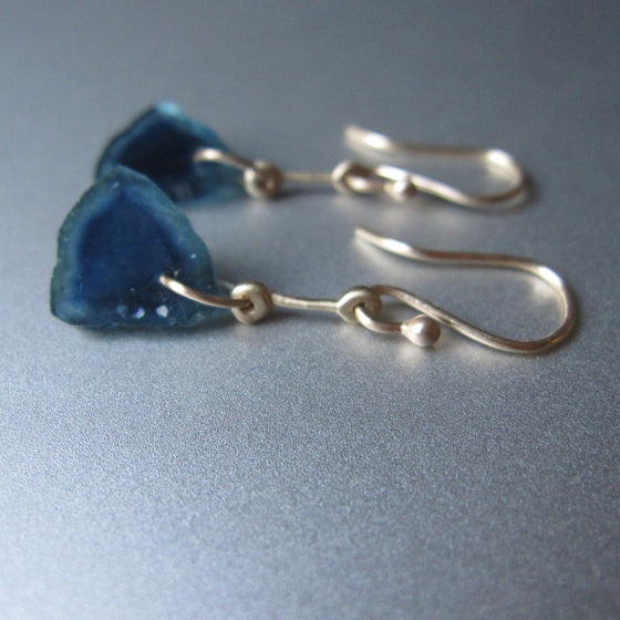 blue tourmaline slices gold rod solid 14k earrings
