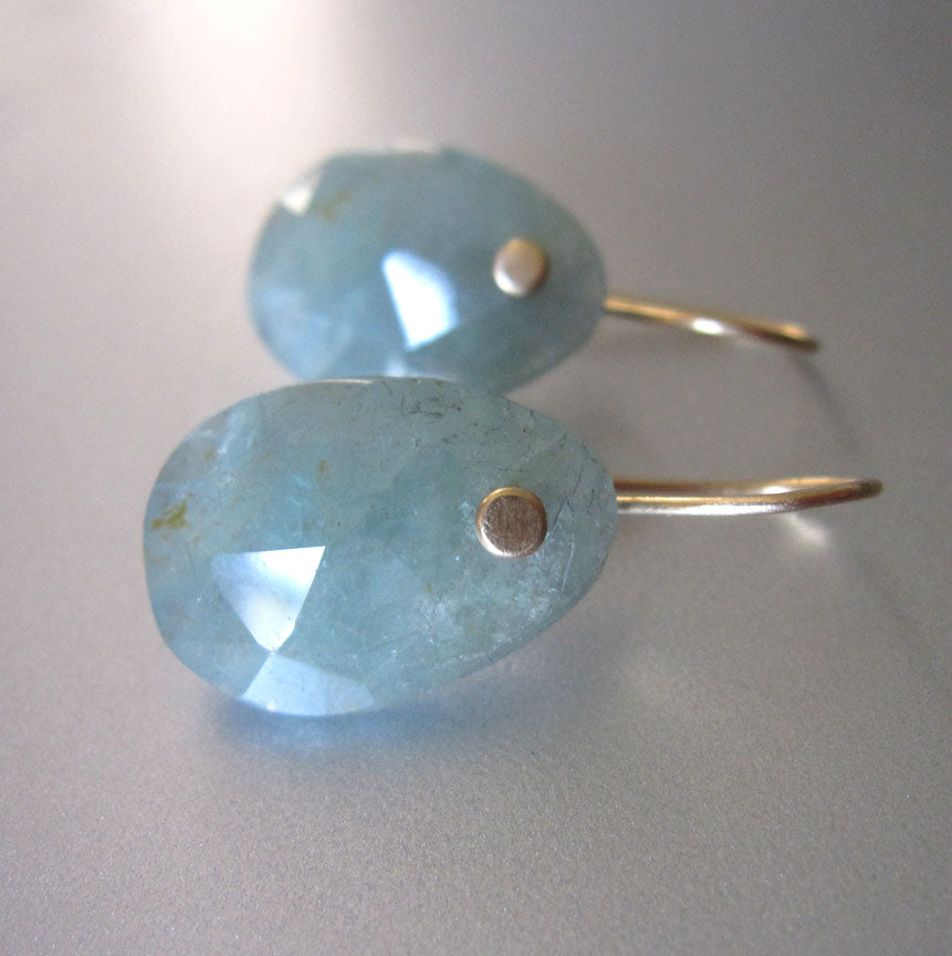 green blue rose cut aquamarine slice solid 14k gold earrings6