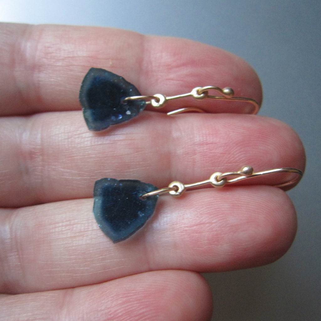 blue tourmaline slices gold rod solid 14k earrings7