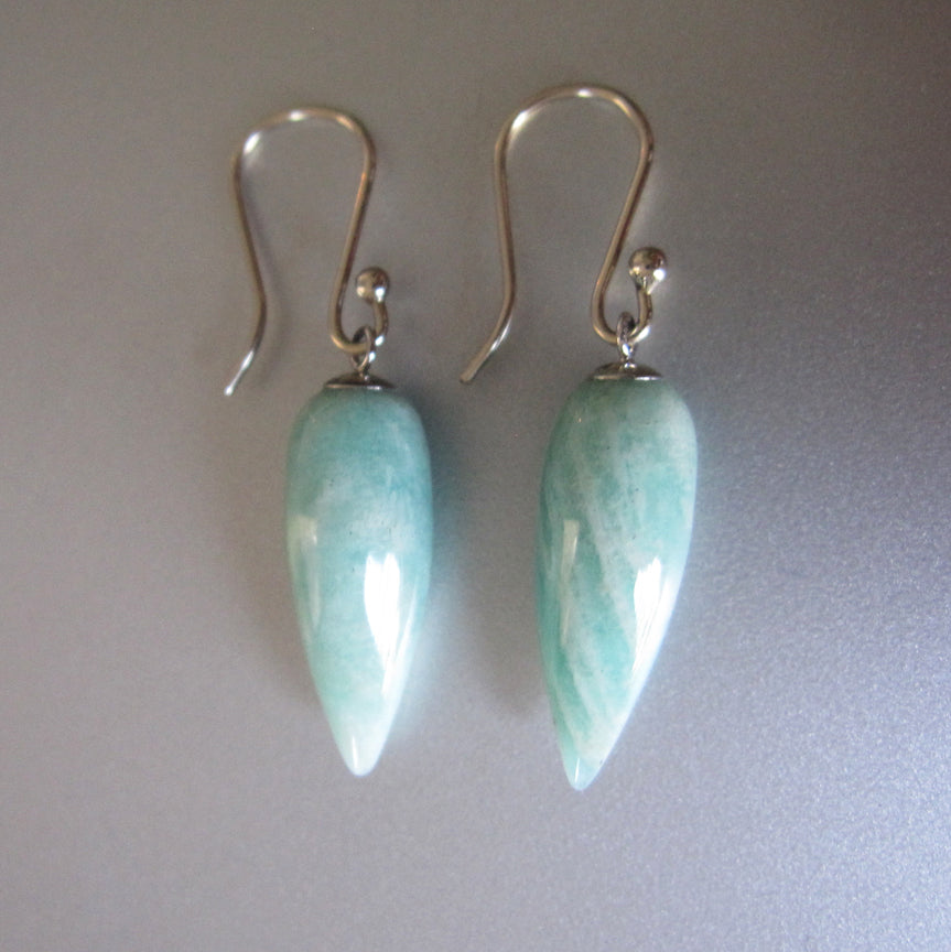 long pointed amazonite drops solid 14k white gold earrings2