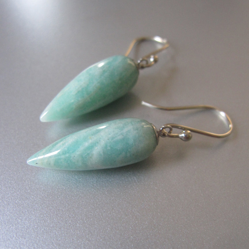 long pointed amazonite drops solid 14k white gold earrings3